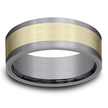 8mm Wedding Ring in 14K Yellow Gold & Grey Tantalum