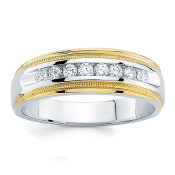 1/2ct tw Diamond Wedding Ring in 14K White & Yellow Gold