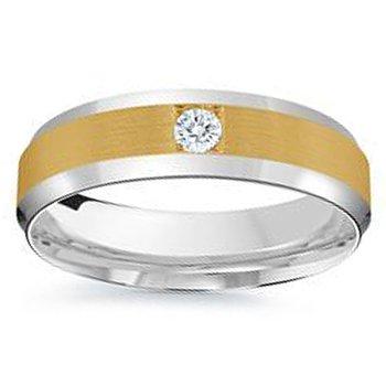 1/10ct tw Diamond Wedding Ring in 14K White & Yellow