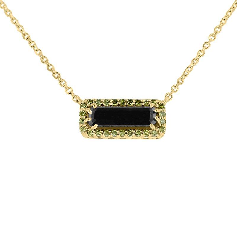 1/8ct tw Diamond & Black Onyx Bar Necklace in 10K Yellow Gold