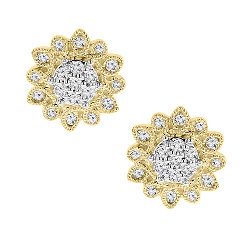 1/5ct tw Diamond Thousand Points of Light Stud Earrings in 10K Yellow Gold