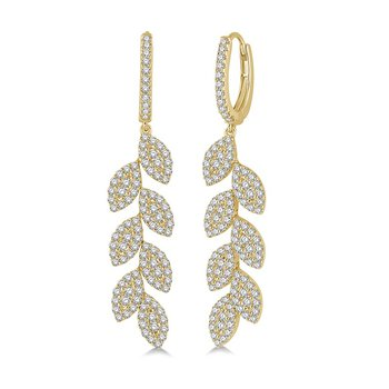 1 7/8ct tw Diamond Fashion Leaf Earrings in 18K Yellow Gold