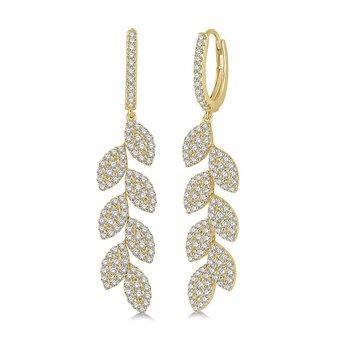 1 7/8ct tw Diamond Fashion Leaf Earrings in 18K Yellow Gold