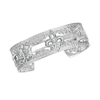 .02ct tw Diamond 7 Inch Mardi Gras Collection NOLA Cuff Bracelet in Sterling Silver