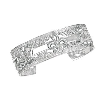 .02ct tw Diamond 7 Inch NOLA 20mm Cuff Bracelet in Sterling Silver