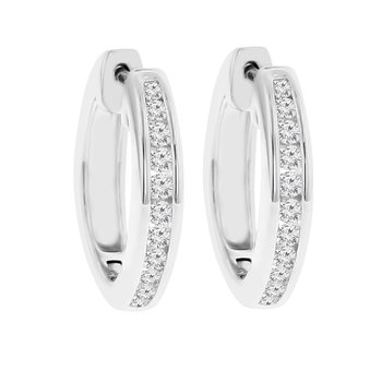 1/2ct tw Diamond Hoop Earrings in Sterling Silver