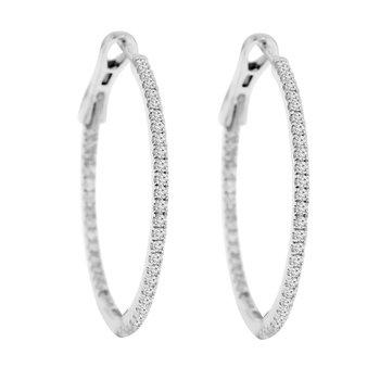 3/4ct tw Diamond Hoop Earrings in 14K White Gold