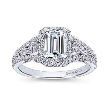 1 3/4ct tw Diamond Halo Engagement Ring in 14K White Gold