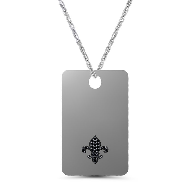 .06ct tw Black Diamond Dog Tag Necklace in Sterling Silver