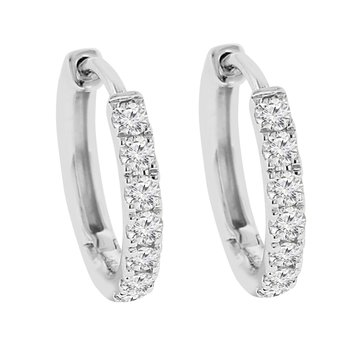 1/4ct tw Diamond Hoop Earrings in 14K White Gold