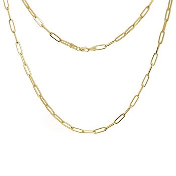 18 Inch Paperclip Chain Necklace in 14K Yellow Gold