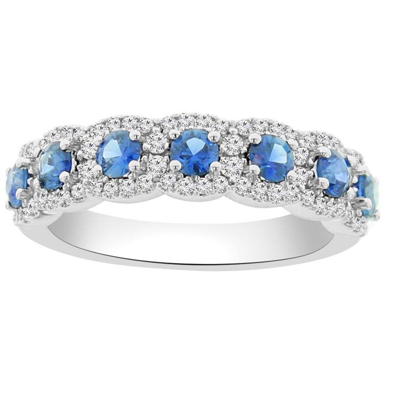 1 1/4ct tw Diamond & Blue Sapphire in 14K White Gold