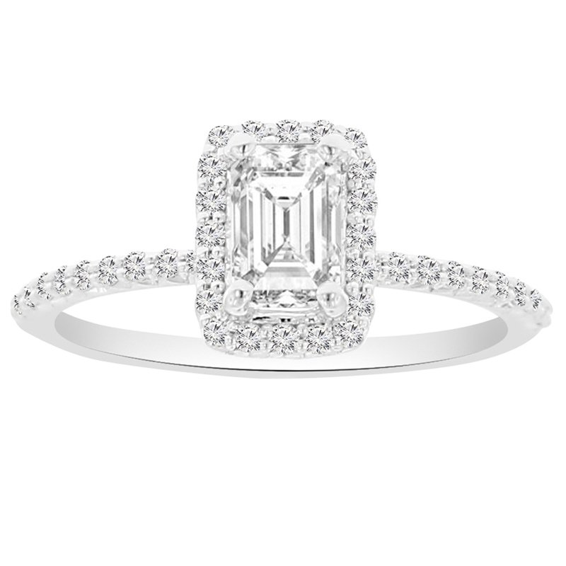 1/4ct tw NewBorn Lab Created Diamond Halo Engagement Ring Setting in 14K White Gold