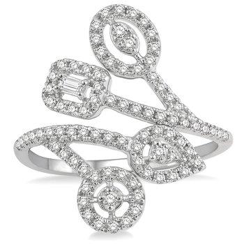 1/2ct tw Diamond Halo Fashion Ring in 14K White Gold