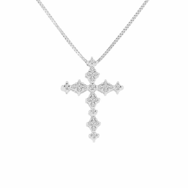 1/8ct tw Diammond Cross Necklace in 10K White Gold
