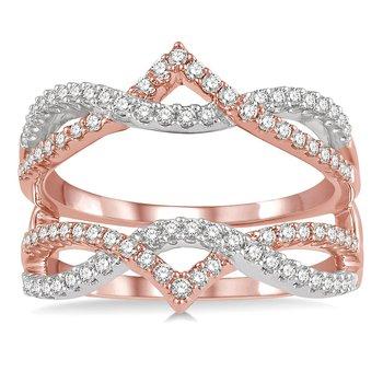 1/2ct tw Diamond Wedding Ring Guard in 14K White & Rose Gold