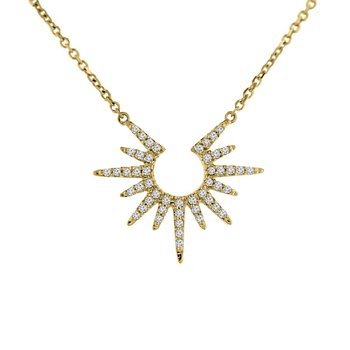 1/8ct tw Diamond Sun Necklace in 10K Yellow Gold