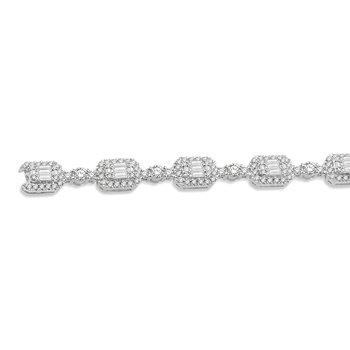 3 3/4ct tw Diamond Halo Fashion Bracelet in 14K White Gold