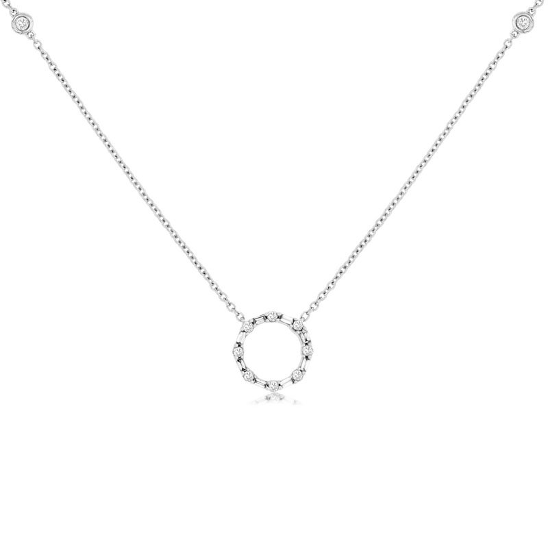 1/3ct tw Diamond Circle Necklace in 14K White Gold