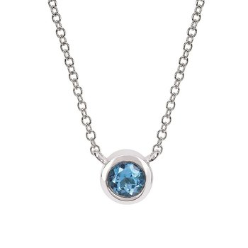 December Birthstone Necklace in 10K White Gold