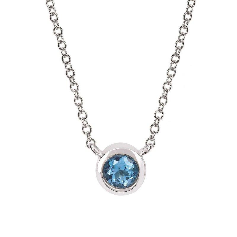 December Birthstone Necklace in 10K White Gold