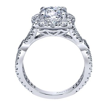 2 1/2ct tw Diamond Halo Engagement Ring in 18K White Gold