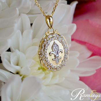 .02ct tw Diamond Fleur De Lis Locket in 10K Yellow Gold