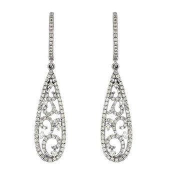 9/10ct tw Diamond Fashion Dangle Earrings in 14K White Gold