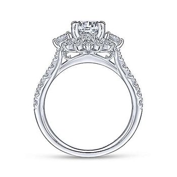 9/10ct tw Diamond Halo Engagement Ring Setting in 14K White Gold