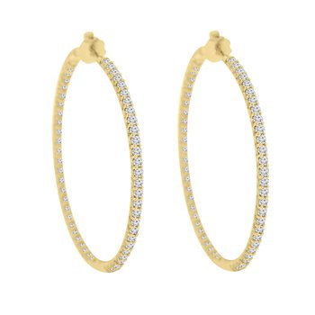 3ct tw Diamond Hoop Earrings in 14K Yellow Gold