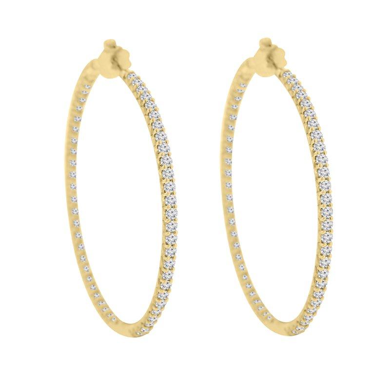 3ct tw Diamond Hoop Earrings in 14K Yellow Gold