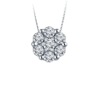 1/2ct tw Diamond Bouquet Necklace in 14K White Gold