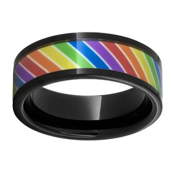 8mm Wedding Ring in Black Ceramic with Rainbow Inlay