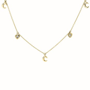 1/8ct tw Diamond Heart & Moon Necklace in 14K Yellow Gold