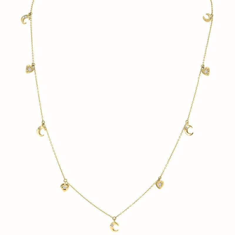 1/8ct tw Diamond Heart & Moon Charm Necklace in 14K Yellow Gold