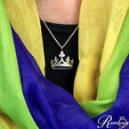 1/20ct tw Diamond Mardi Gras Crown Necklace in Sterling Silver