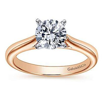 Solitaire Engagement Ring Setting in 14K White & Rose Gold