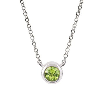 August Birthstone Necklace in 10K White Gold