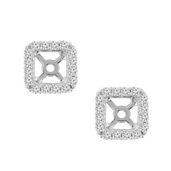 3/8ct tw Diamond Halo Earring Jackets in 14K White Gold