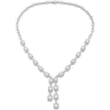 8 7/8ct tw Diamond Halo Fashion Necklace in 18K White Gold