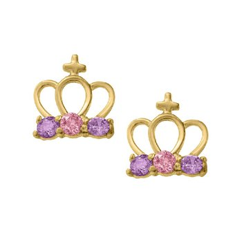 Cubic Zirconia Crown Earrings in 14K Yellow Gold
