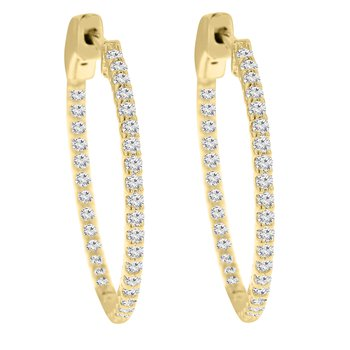 3/4ct tw Diamond Hoop Earrings in 14K Yellow Gold