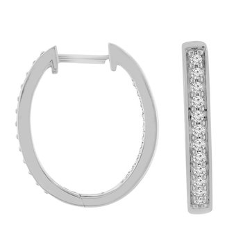 1/4ct tw Diamond Hoop Earrings in 10K White Gold