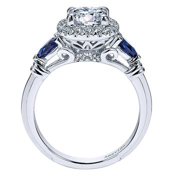 1 1/8ct tw Diamond & Blue Sapphire Engagement Ring in 18K White Gold