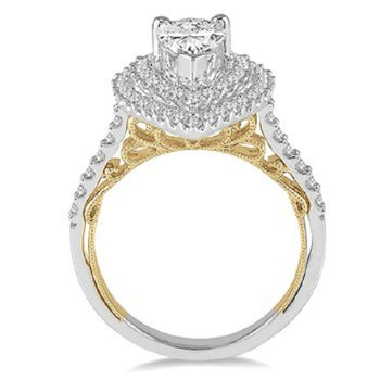 1 3/4ct tw Diamond Halo Engagement Ring in 14K White & Yellow Gold
