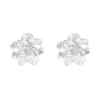 .05ct tw Nola Collection Magnolia Stud Earrings in Sterling Silver & 14K White Gold