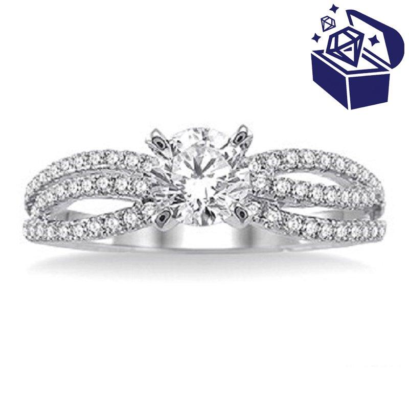 Treasure Hunt Value 1/3ct tw Diamond Engagement Ring Setting in 14K White Gold