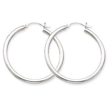 35mm Hoop Earrings in 14K White Gold