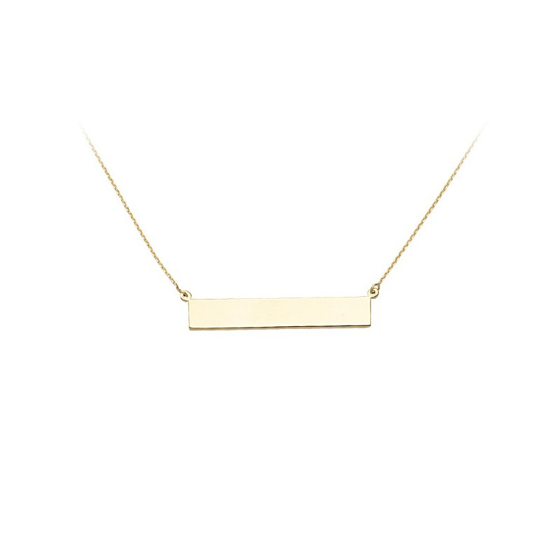 Engravable Name Plate Necklace in 14K Yellow Gold