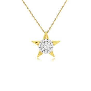 1/8ct tw Diamond Star Necklace in 14K Yellow Gold